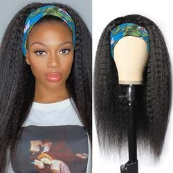 Kinky Straight Headband Wigs Yaki Straight Synthetic Hair Wig None Lace Front Wigs for Black Women Machine Made Wigs16-28 inch