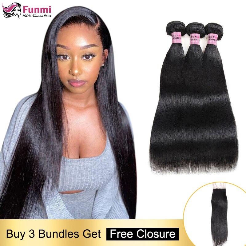 Free Closure Straight Human Hair Bundles Malaysian Hair Weave Bundles Straight Hair Bundles With Closure 100 Human Hair Non-Remy