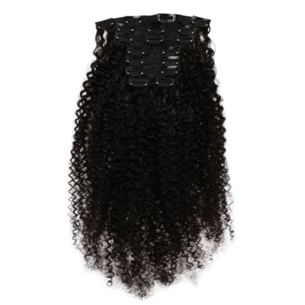 Full Head Brazilian Clip in Human Hair Extensions Machine Remy Kinky Curly Clip Ins 120G/Set Hair Clip Natural Color 8-26 Inch