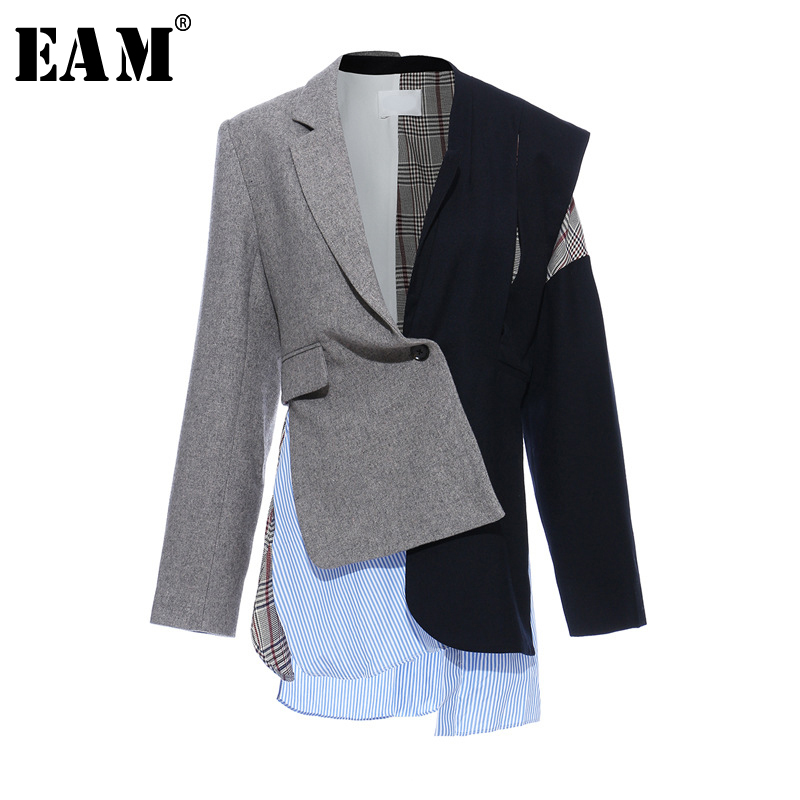 [EAM]  Women Gray Plaid Striped Split Joint Blazer New Lapel Long Sleeve Loose Fit  Jacket Fashion Tide Spring Autumn 2020 1T134