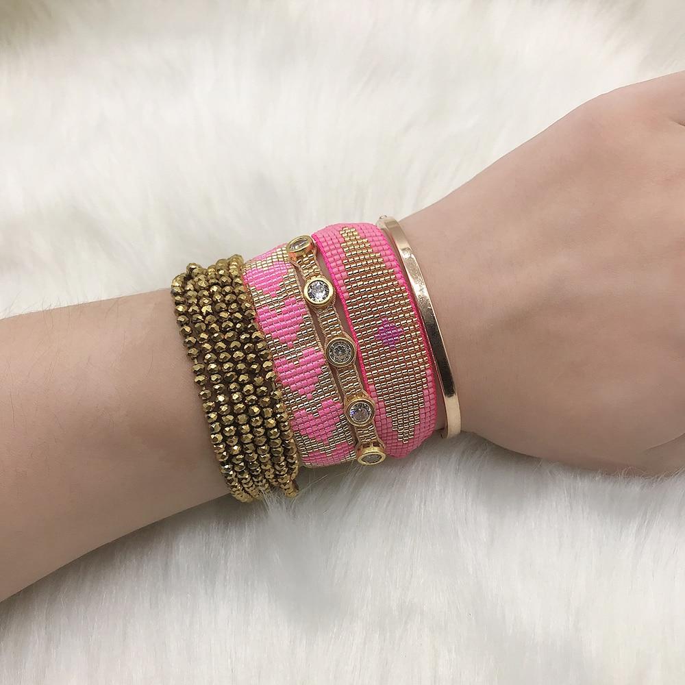 BLUESTAR Boho 4pcs One Set Evil Eye Heart MIYUKI Bracelets Lady Gold Crystal Pulsera Mujer Friendship Bracelets Jewelry Gift