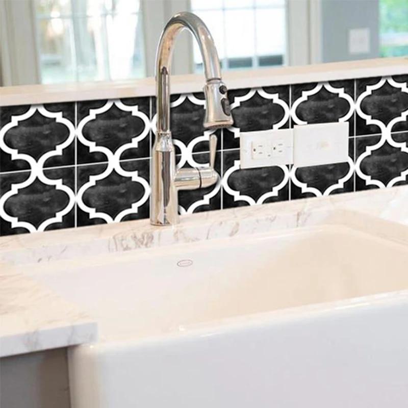 kitchen backsplash wall tile sticker black waterproof marble tiles adhesive bathroom sticker wall tile decoration