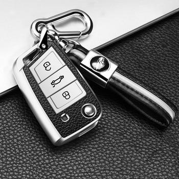 PU+ TPU Car Key Case For VW Volkswagen MK7/GTI 7/Golf 7/Golf R Skoda Octavia A7 SEAT 3 Buttons Folding Remote Fob Cover Keychain