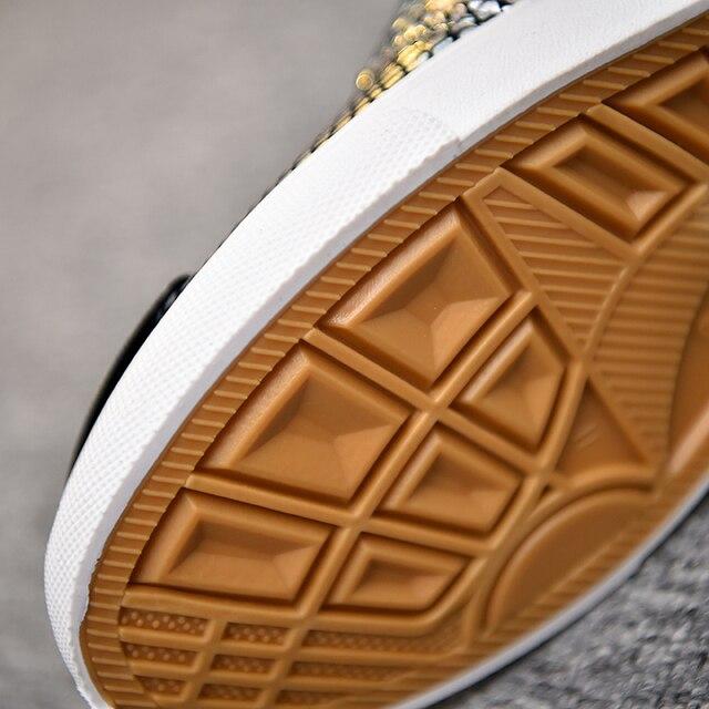 Los hombres lentejuelas alta hombres oro brillo de Bling de la plataforma zapatos planos para hombre de plata brillante de moda Zapatos vulcanizados zapatos AC-1 6