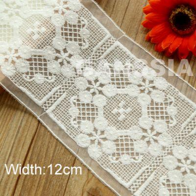 1 ярда в ширину: 12 см изысканный цветочный дизайн, хлопковое кружево, цвет слоновой кости, вышитые кружева для одежды (ss-4502)