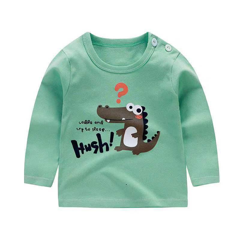 От 6 месяцев до 5 лет унисекс; сезон осень-зима; хлопковая футболка с длинными рукавами и героями мультфильмов; футболки для маленьких мальчиков и девочек; детская повседневная одежда; одежда с круглым вырезом - Цвет: Q49