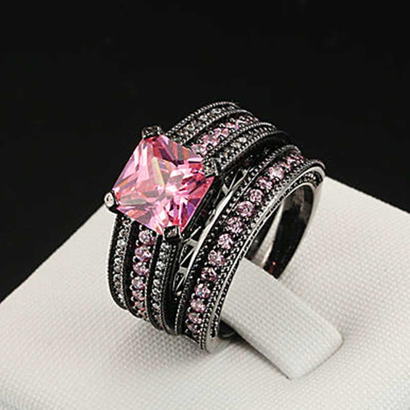 Visisap שחור זהב צבע טבעת ורוד אבן כיכר AAA זירקון בציר חתונה כלה סטי טבעות לנשים תכשיטים VSR116
