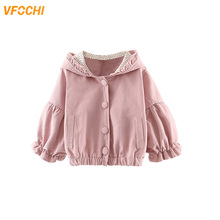VFOCHI New Baby Girls Jacket Spring Windbreaker Kids Lantern sleeve Children Clothing Autumn Outerwear