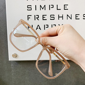 Image 2 - 새로운 대형 스퀘어 클리어 비 처방 렌즈 안경 대형 여성 남성 광학 안경 스펙타클 투명 합금