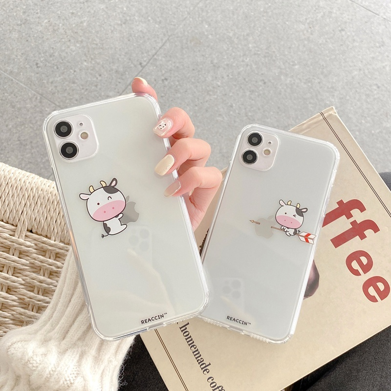 Cute 3D Cartoon Cow Transparent Silicone Case For Iphone 12 Mini 11 Pro XS Max XR SE 2020 7 8 Plus X Soft Phone Back Cover Coque