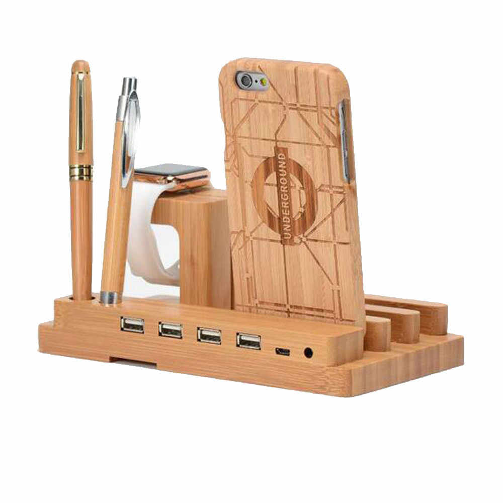 3 en 1 bambú madera teléfono móvil soporte de carga de escritorio base de carga para Apple Watch IPhone