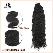 Cinta de ondas naturales para extensiones de cabello humano, 50g, cinta adhesiva de 20 piezas, hecha a máquina, cabello humano remy, pegamento negro
