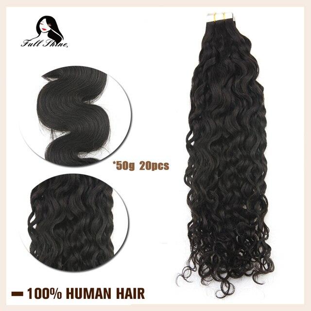 Fita adesiva de onda natural brilhante, 50g 20 pçs, fita adesiva, feita à máquina, cabelo humano remy cola preta na