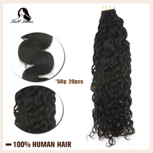 Full Shine Natural Wave Tape in Human Hair Extensions 50g 20pcs Adhesive Tape machine made remy Human Hair Black Glue on