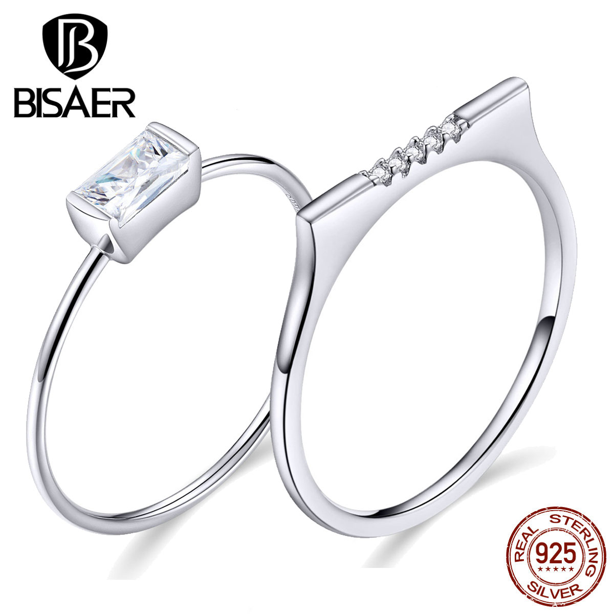 Wedding Rings BISAER 925 Sterling Silver First Love Clear Cubic Zircon Finger Rings For Women Luxury Silver Jewelry ECR564