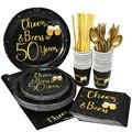 Черное золото, товары для вечеринки в честь Дня Рождения, блестящее пиво 30 40 50 60 70 80 90 лет