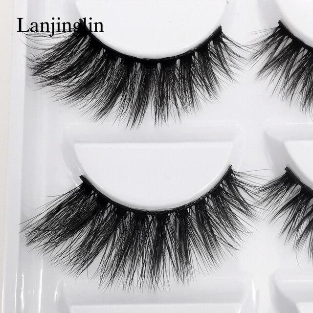 LANJINGLIN 1/3/5 pairs 3D mink hair false eyelashes natural long eye lashes wispy makeup eyelash extension sexy fake lash cilios 3