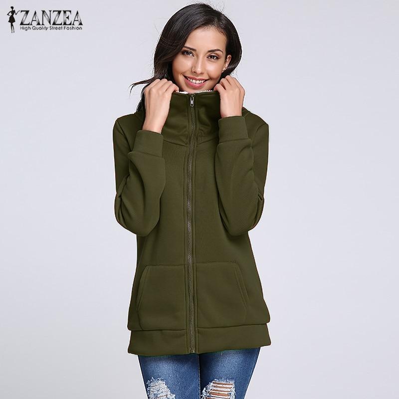 ZANZEA Women Winter Fleece Coats Hooded Sweatshirts 2020 Autumn Casual Loose Zipper Hoodies Tops Jackets Outwear Plus Size S-4XL