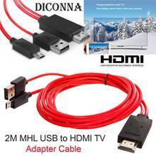 2 м MHL к HDMI-совместимый адаптер кабель HD 1080P конвертер адаптер USB кабель для HDTV TV цифровой аудио кабель для Samsung