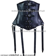 Corsets Bustiers Top-Clothing Back-Rubber Lacing Sexy Black with At CY-0032 Latex