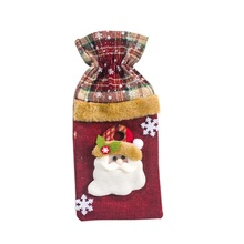 Drawstring Linen Wine Bottle Covers Decorative Treat Bags Christmas Hol