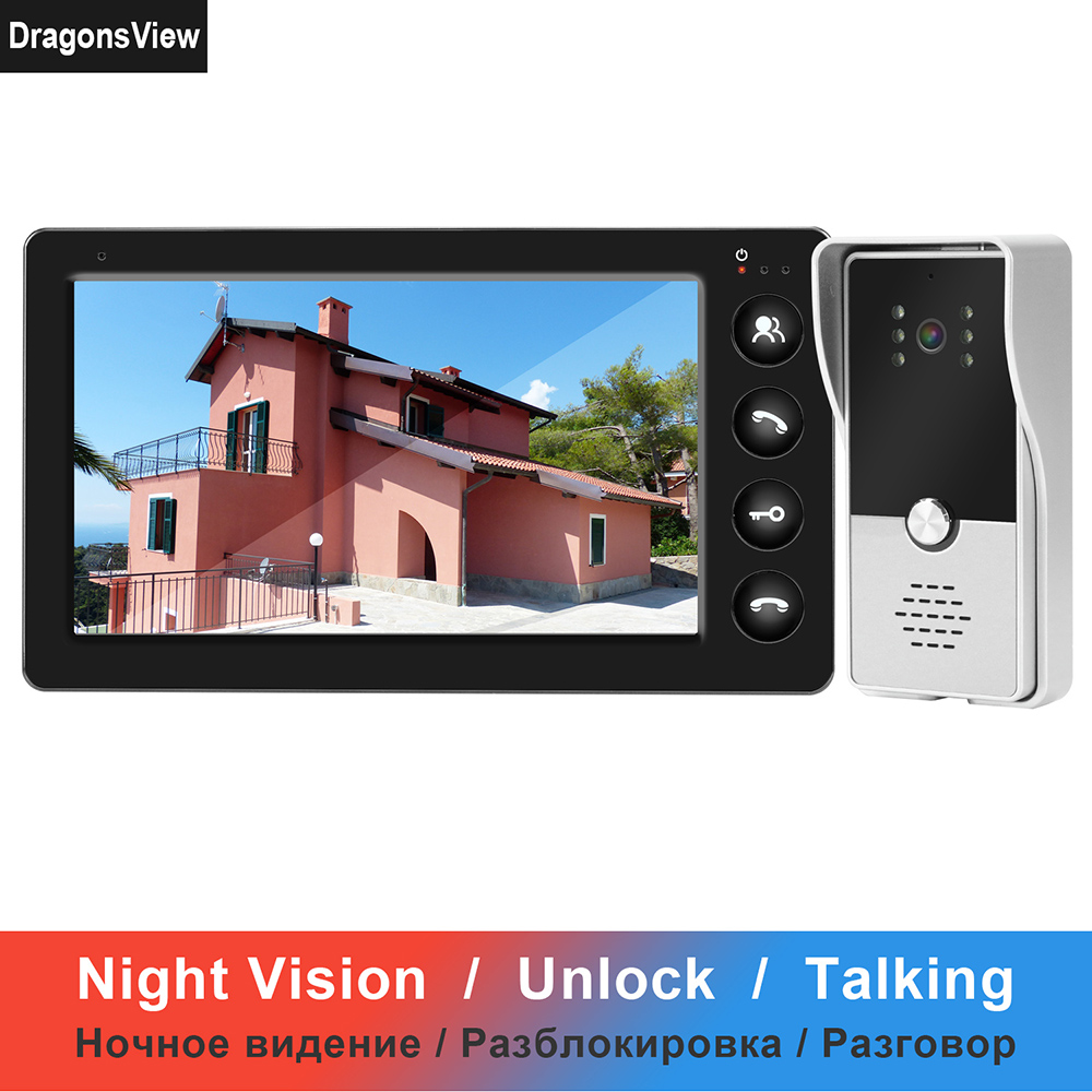 Dragonsview Video Intercom Wired Video Door Phone For Home Security System 7 Inch Monitor Doorbell Support Electric Lock Connect