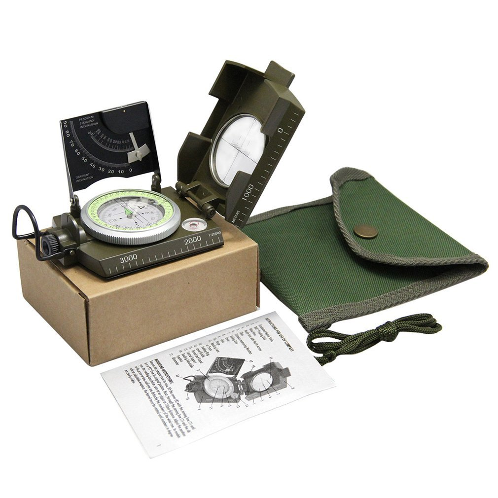 Geology Compass For Professional Military Army Sighting Luminous Compass  For Outdoor Hiking Camping Outdoor Compass