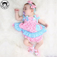 2019 Newest Baby Girls Clothing Set Infant Ruffle Outfits Bloomer Headband Newborn Girl Clothes Sets Baby Swing Top