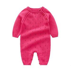 Image 4 - Baby strampler Strick Reiner Baumwolle Babys Kleidung Neugeborenen Baby Mädchen Stricken Wolle langen ärmeln herbst overall Strickwaren 0 24m
