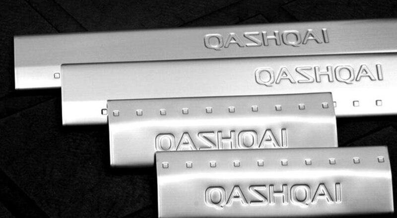 Acier inoxydable éraflure plaque seuil de porte bienvenue pédale protecteur autocollants accessoires pour Nissan Qashqai J10 2007 2008 2009-2013 fa - 3