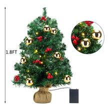 55CM New Year Xmas Mini Tree 2019 Christmas Artificial Little with Ornaments Home Decor Fast Shipping