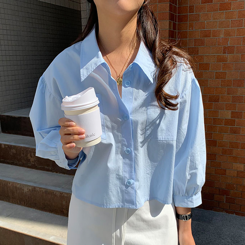 Korte Solid Vrouwen Shirts Single Breasted Alle Match Mode Blouses Koreaanse Chic Elegante 2020 Lente Blusas