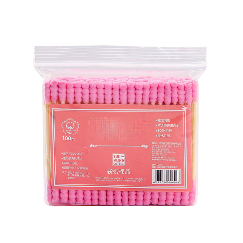 100pcs/ Pack Double Head Cotton Swab Women Makeup Cotton Buds Tip For Medical Wood Sticks Nose Ears Cleaning Tools