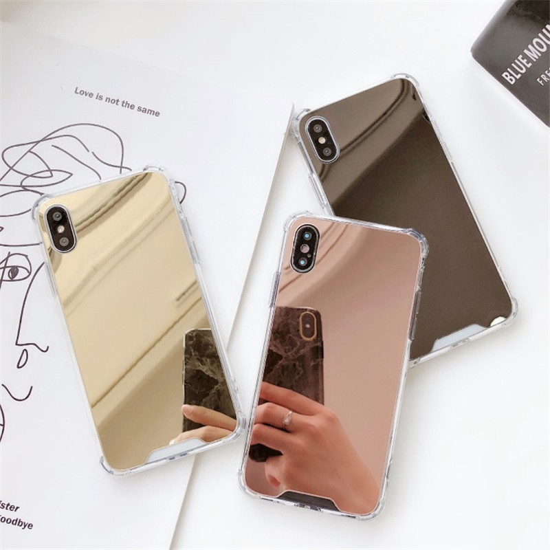 Luxury Plating Mirror Phone Case For Samsung Galaxy S10 S9 S8 Plus S10e Capas Silicone Covers For Samsung Note 8 9 Coque Fundas image