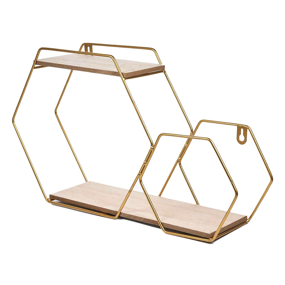 Newest Wall Hanging Shelf Rack Convenient Iron Geometric Storage Holder For Living Room