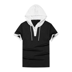 Мужская Повседневная футболка, однотонная свободная футболка с капюшоном, Новинка лета 2021, мужская спортивная одежда, мужская футболка с коротким рукавом, брендовая одежда|Футболки|   | АлиЭкспресс