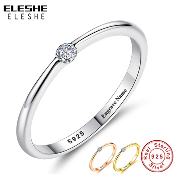 ELESHE Authentic 925 Sterling Silver Rings Round Zirconia Crystal Finger Rings for Women Wedding Original Silver Jewelry slovecabin real 925 sterling silver link chain lock finger rings for women vintage napkin wedding rings for women bijoux female