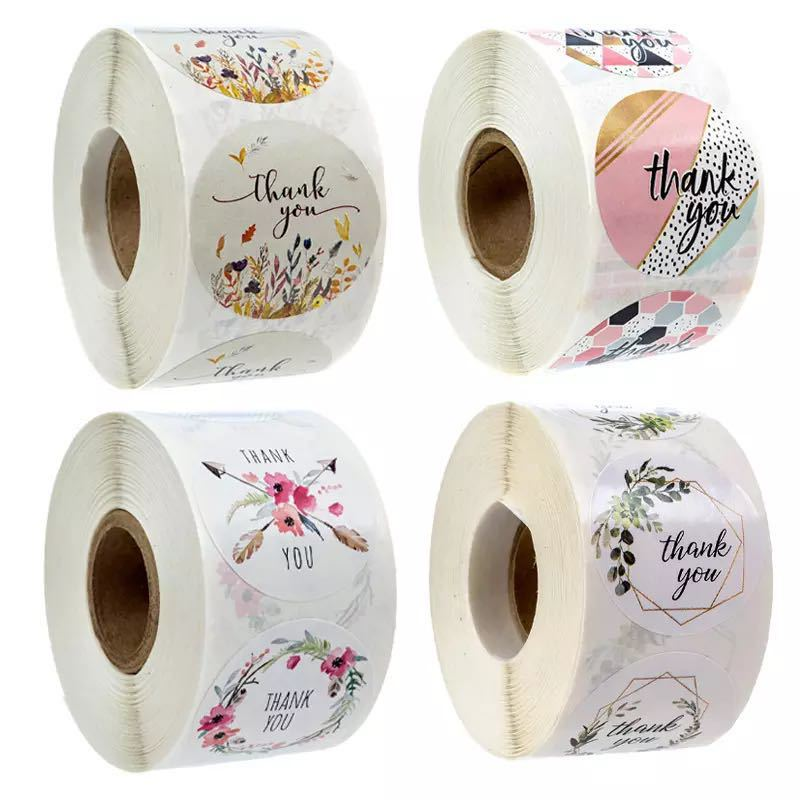 500Pcs/Roll  Thank You Stickers Handmade Sticker Circle Stationery thank you for your order Gift Seal Labels thank you sticker 6