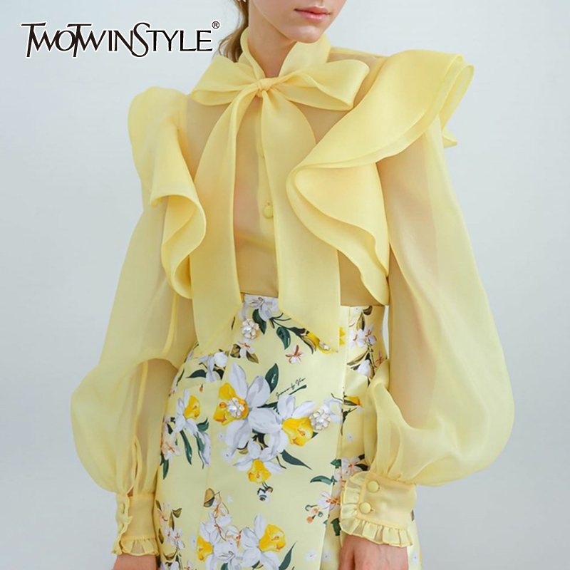 TWOTWINSTYLE Perspective Ruched Ruffle Shirts For Women O Neck Bowknot Lantern Long Sleeve Elegant Shirt Female 2020 Spring New