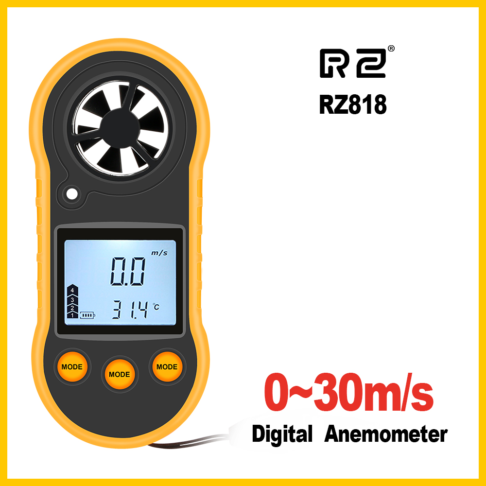 Image 2 - RZ Anemometer Portable Anemometro Thermometer GM816 Wind Speed Gauge Meter Windmeter 30m/s LCD Digital Hand held Anemometer-in Speed Measuring Instruments from Tools