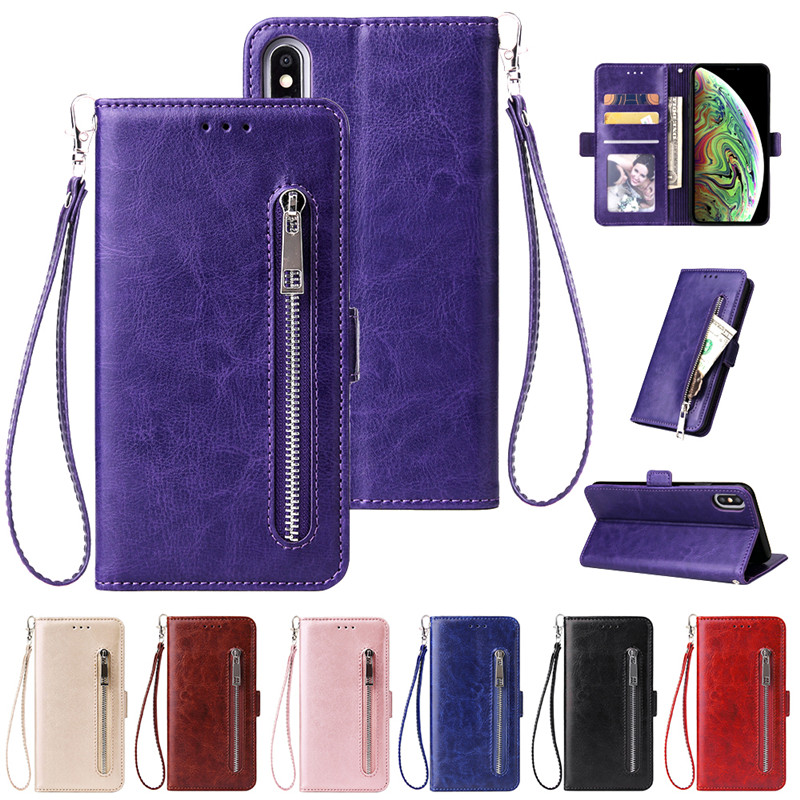 Wallet-Case Flip-Leather-Cover Zipper Silicone iPhone X Luxury for XI Xr-Xs Max Fundas