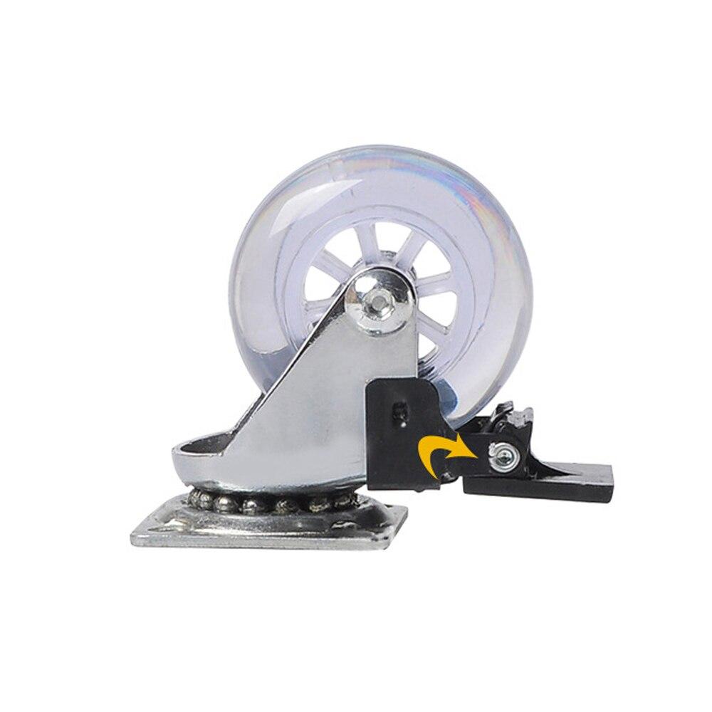 Rodízio resistente das rodas do rodízio do giro de 360 graus nenhum ruído roda para armários da mobília (2 polegadas com freio) rodízios do sofá-3
