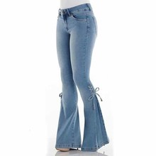 Sexy High Waist Flare Jeans Mid Retro Blue Bell Bottom Skinny Fashion Women Stretching Lace Up Denim Trousers