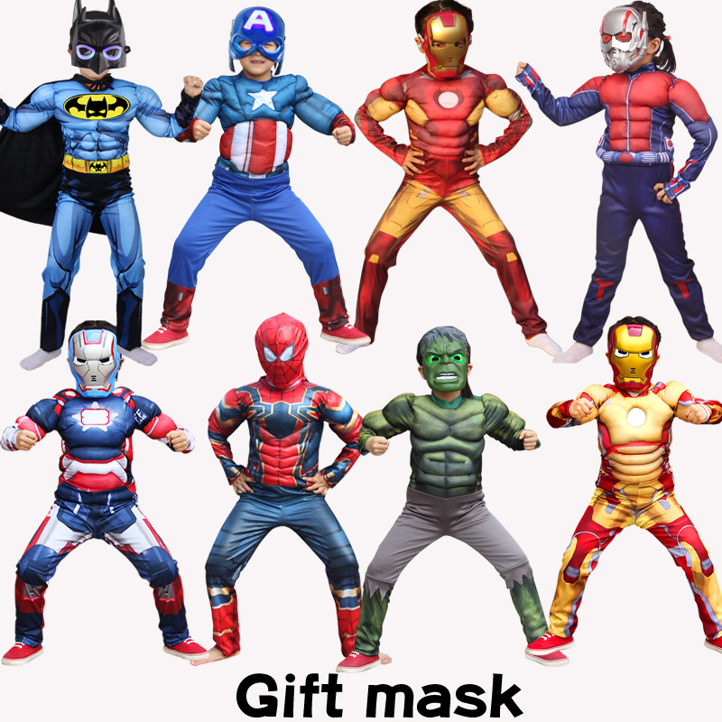 Halloween Children Boy Girls Carnival  Sets Muscle Clothes  Super Hero Captain America SpiderMan Hulk Batman Iron Man Costume