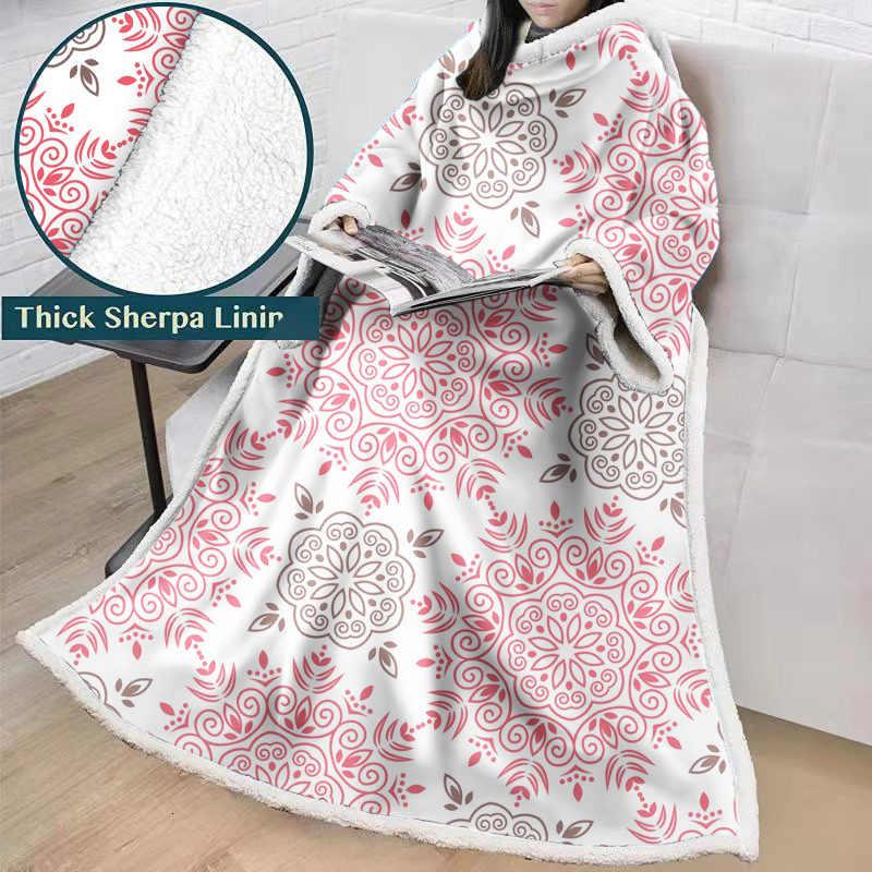 Couverture bohème avec manches 3D imprimé en peluche douce Sherpa polaire canapé couverture corail microfibre chaud canapé couverture en plein air Manta