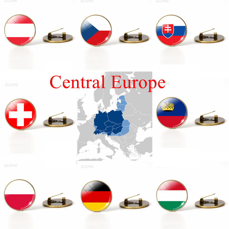 Central Europe: Austria Poland Germany Switzerland Flag Brooches Glass Dome Jewelry Bronze Brooch Pins National Day Gifts(China)