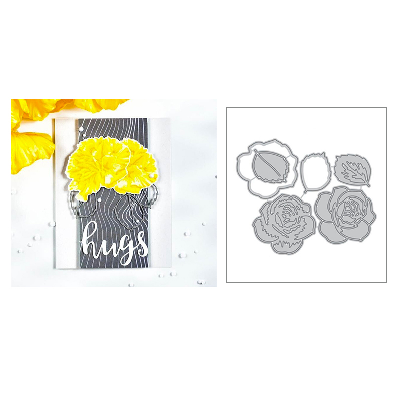2020 New Hot Rose Metal Cutting Dies Leaves Stencils And Scrapbooking For Flower 3D Foil Die Cut Card Making Crafts No Stamp