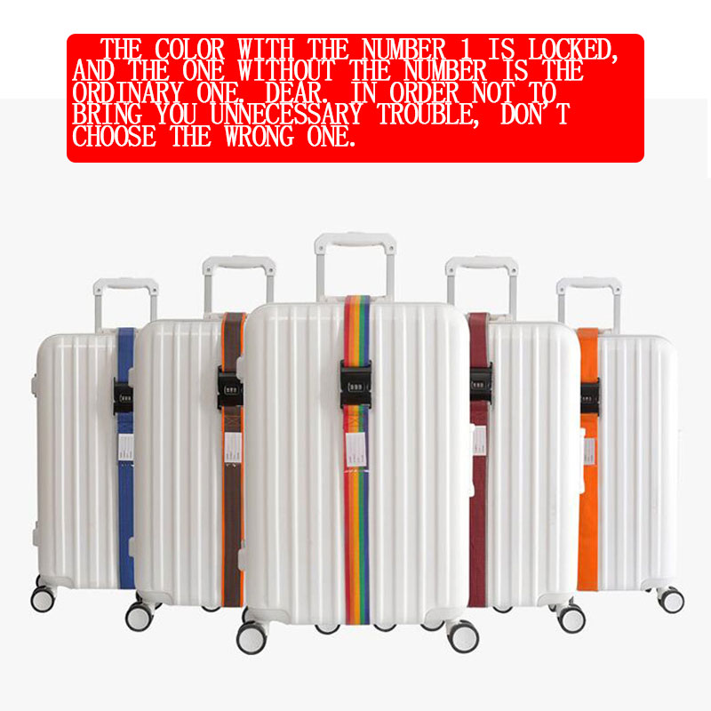 Luggage Strap Cross Strap Packing Adjustable 200CM Travel Suitcase PP 3 Digits Password Lock Luggage Strap Belts Belt Closure