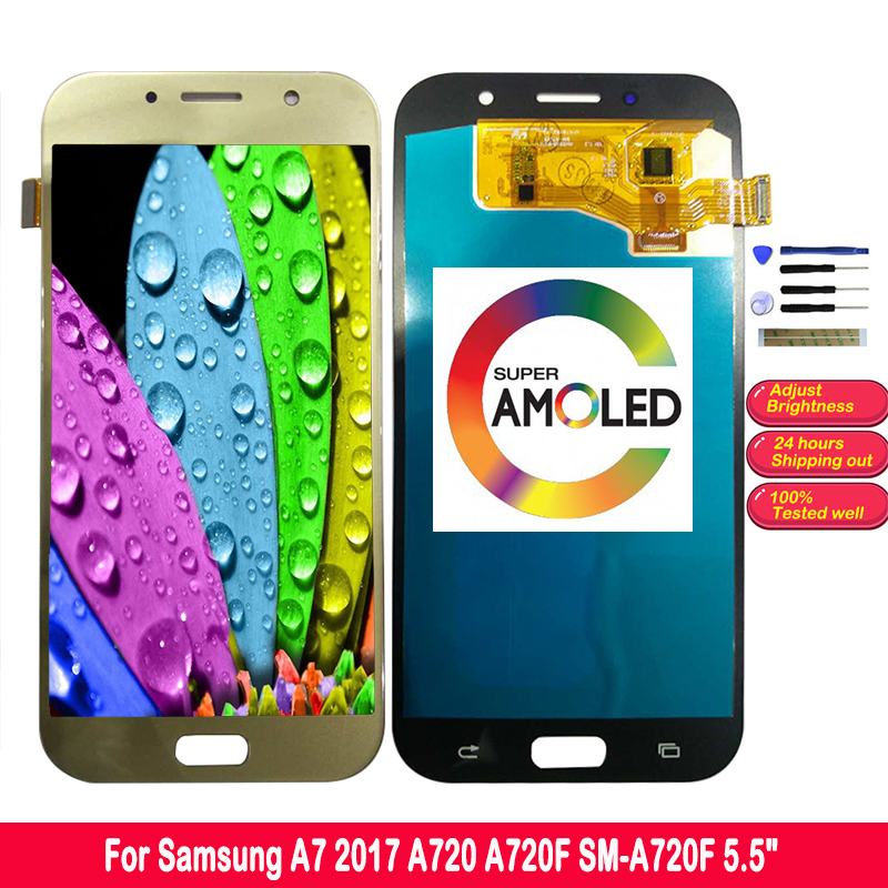 SZMUGUA 5.7'' AMOLED HD LCD Display For <font><b>Samsung</b></font> Galaxy A7 2017 A720 <font><b>A720F</b></font> SM-<font><b>A720F</b></font> <font><b>Screen</b></font> LCD Touch Digitizer 1920x1080 image