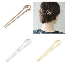Womens U-Shaped Metal Long Hair Fork Hollow Out Antique Vintage Decorative Stick Hairpin Updo Chignon Barrettes DIY Bookmark